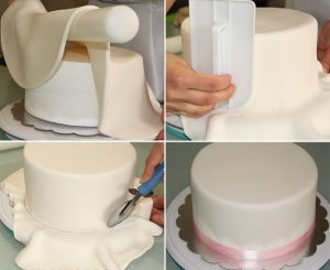 uma imagem sobre decorar bolo com pasta americana